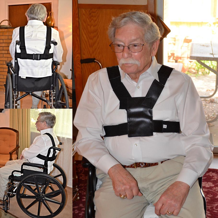 Photos of wheelchair safety harness, fall prevention wheelchair accessory
