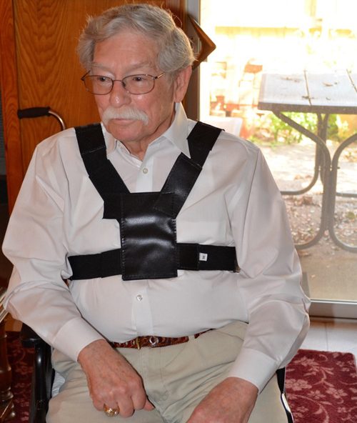 Front-view of the wheelchair safety harness
