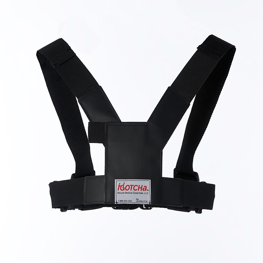 Front-view diagram of the wheelchair safety harness