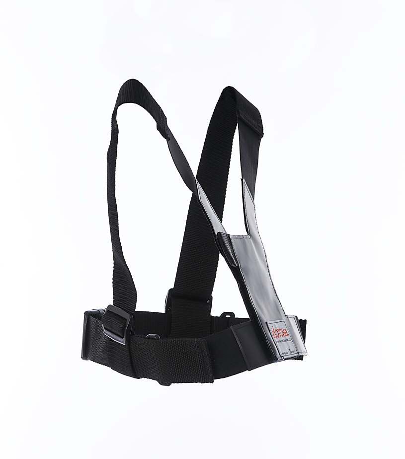 side-view diagram of the wheelchair safety harness