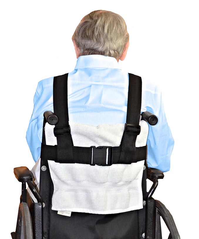 Rear-view of the wheelchair safety harness